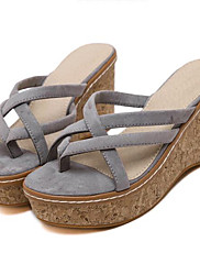 Ženske cipele-Sandale / Papuče-Aktivnosti u prirodi / Ležerne prilike-Flis-Puna potpetica-Pune pete / Štikle-Crna / Ružičasta / Siva