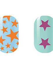 orange / purple zvijezda naljepnice šuplje noktiju