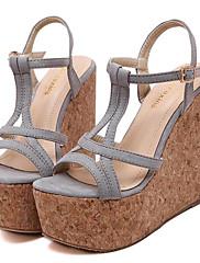 Ženske cipele-Sandale-Aktivnosti u prirodi / Ležerne prilike-Flis-Puna potpetica-Pune pete / Štikle-Crna / Ružičasta / Siva
