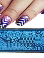 1ks 12 * 6 cm nail art ražení deska geometrické obrázek designu krásná květina nehty nářadí 09-16