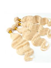 4ks hodně euroasijskou panna vlasy 3bundles vlasy útek s 1ks volná část krajka tělesa uzávěru wave # 613 dětské vlasy