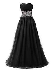 フォーマルイブニング ドレス ボールガウン スイートハート フロア丈 チュール とともに クリスタル装飾