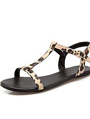 Sandály-Koženka-Gladiátorské-Dámské-Černá Žlutá Bílá-Outdoor Kancelář Šaty Běžné Party-Plochá podrážka