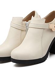 女性-アウトドア オフィス カジュアル-レザーレット-チャンキーヒール-ファッションブーツ-ブーツ-ブラック ブラウン ベージュ