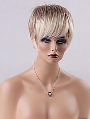 ホットクールストレートショートキャップレスは人間の毛髪混合色を10インチウィッグ