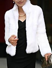 Mujer Simple Un Color Abrigo de Piel Manga Larga Invierno Piel Sintética