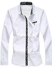 男性用 フラワー カジュアル / プラスサイズ シャツ,長袖 コットン ブラック / ブルー / レッド / ホワイト