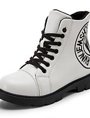 女性-カジュアル-PUレザー-フラットヒール-ブーティー-ブーツ-ブラック ホワイト