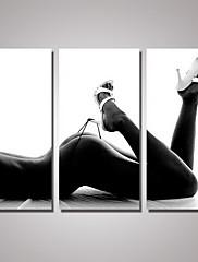 静物画 ヌード Modern リアリズム,3枚 キャンバス 横長 版画 壁の装飾 For ホームデコレーション