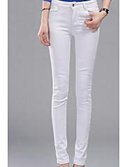 Damer Gade Mikroelastisk Ret Tynd Skinny Bukser,Højtaljede Ensfarvet