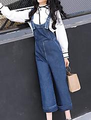 Damer Enkel Mikroelastisk Afslappet Jeans Overalls Bukser,Alm. taljede Ensfarvet