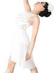 Ballet Kjoler Dame Børn Ydeevne Spandex Polyester Palliet-belagt Pailletter Draperet Plisseret 2 Dele Ærmeløs NaturligKjole