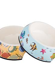 ネコ 犬 餌入れ/水入れ ペット用 ボウル&摂食 防水 オレンジ ブルー