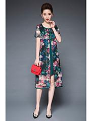 Feminino Solto Vestido,Casual Simples Floral Decote Redondo Assimétrico Manga Curta Poliéster Elastano Verão Cintura Média Micro-Elástica