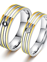 Herre Båndringe Kvadratisk Zirconium Kærlighed Klassisk Mode luksus smykker Chrismas Titanium Stål Cirkelformet Smykker TilFest Halloween