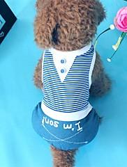 Cachorro Camiseta Roupas para Cães Casual Riscas Vermelho Azul
