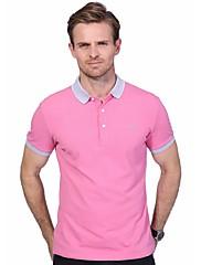 Masculino Polo Casual Tamanhos Grandes Simples Verão,Estampado Letra Algodão Elastano Colarinho de Camisa Manga Curta Média
