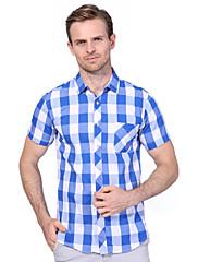 Masculino Camisa Social Casual Tamanhos Grandes Simples Verão,Xadrez Algodão Elastano Colarinho de Camisa Manga Curta Média