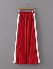 Feminino Moda de Rua Cintura Média Micro-Elástica Chinos Calças,Solto Sólido Estampa Colorida
