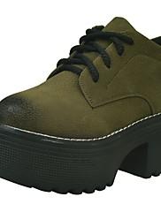 レディース 靴 PUレザー 秋 冬 コンフォートシューズ オックスフォードシューズ クリーパーズ ラウンドトウ 編み上げ 用途 カジュアル ブラック アーミーグリーン