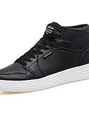 メンズ 靴 PUレザー 春 秋 ライト付きソール スニーカー 編み上げ 用途 カジュアル ホワイト ブラック
