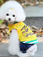 Cachorro Colete Roupas para Cães Casual Carta e Número Amarelo Vermelho Azul