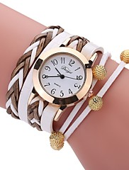 Dame Modeur Armbåndsur Unik Creative Watch Kinesisk Quartz PU Bånd Vintage Charm Armbånd Afslappet Elegante Sort Hvid Blåt Rød Gråt Pink