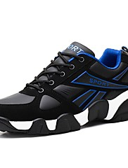 Masculino sapatos Couro Ecológico Primavera Outono Conforto Tênis Cadarço Para Atlético Amarelo Preto/Vermelho Black / azul