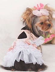Cachorro Vestidos Roupas para Cães Casual Princesa Branco Rosa claro