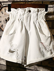 Ženske Ravan kroj Jednostavan Visoki struk Mikroelastično Traperice Kratke hlače Hlače Jednobojni