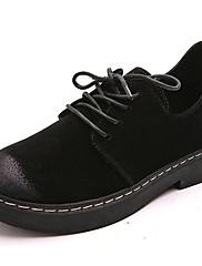 レディース 靴 PUレザー 秋 冬 コンフォートシューズ オックスフォードシューズ ローヒール ラウンドトウ 編み上げ 用途 カジュアル ブラック グレー グリーン