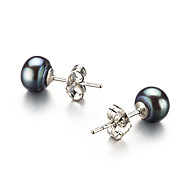 925 Sterling Silver Black 6.5-7mm AA Freshwater Pearl Earring