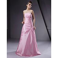 Bridesmaid Dress Floor Length Taffeta A Line Strapless Wedding Party Dress