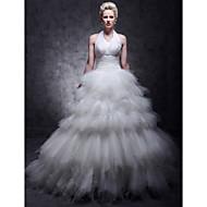 Ball Gown Plus Sizes Wedding Dress - Ivory Floor-length Halter Tulle/Taffeta