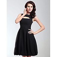 Homecoming Cocktail Party/Holiday Dress - Black Plus Sizes A-line/Princess Bateau Knee-length Chiffon