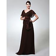 TS Couture® Formal Evening / Military Ball Dress - Elegant Plus Size / Petite Sheath / Column V-neck Floor-length Chiffon with Bow(s) / Sash / Ribbon
