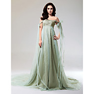 Formal Evening Dress - Sage Plus Sizes A-line/Princess Strapless/Off-the-shoulder Court Train/Watteau Train Organza/Taffeta