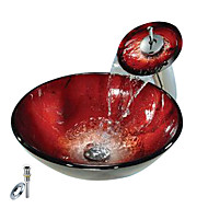 Red Round Tempered glass Vessel Sink With Waterfall Faucet, Mounting Ring and Water Drain(0888-C-BLY-6439-WF)