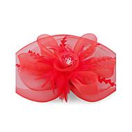 Kate Middleton stil ur: rød fjer og organza blonder blomster bryllup og fest fascinator