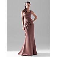 Floor-length Satin Bridesmaid Dress - Brown Plus Sizes Sheath/Column V-neck/Straps
