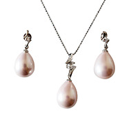 AA 12-13mm Pink Pearl With 925 Silver Necklace and Earrings Jewelry Set