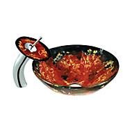 rode en zwarte ronde gehard glazen vat zinken met waterval kraan (0888-c-Bly-6425-wf)