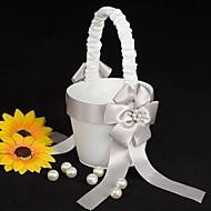 canasta de niña de las flores de raso blanco con repique de imitación