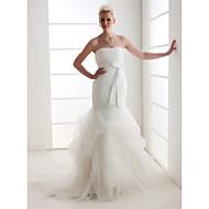 LAN TING BRIDE Trumpet / Mermaid Wedding Dress - Classic & Timeless Elegant & Luxurious Vintage Inspired Court Train StraplessOrganza