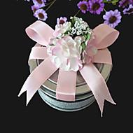 분홍색 활과 맑은 상단 부탁을 주석 (6 세트)