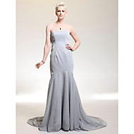 Formal Evening Military Ball Dress - Sparkle & Shine Celebrity Style Trumpet / Mermaid Strapless Sweetheart Court TrainStretch Satin