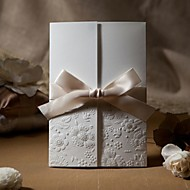 Sample Vintage Embossed Tri-fold Wedding Invitation With Ribbon Bow (One Set)