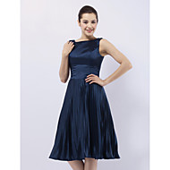 TS Couture Cocktail Party Wedding Party Dress - 1950s Celebrity Style A-line Princess Bateau Knee-length Stretch Satin with Pleats