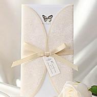 Elegant Ivory Butterfly Print Tri-fold Wedding Invitation (Set of 50)