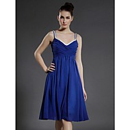 Cocktail Party Dress - Royal Blue Plus Sizes A-line/Princess V-neck/Spaghetti Straps Knee-length Chiffon